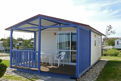 Bungalow Mediterrâneo chalets at Campsite Orbitur Rio Alto in northern Portugal.  Click Here For More Information