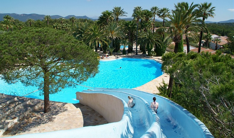 The View From The Water Slide At La Baume, A 5 Star Riviera Camping Holiday  Park Thatu0027s Just A Few Miles From The Thriving Riviera Resort Of Fréjus.